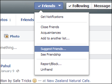 suggest friend option for facebook