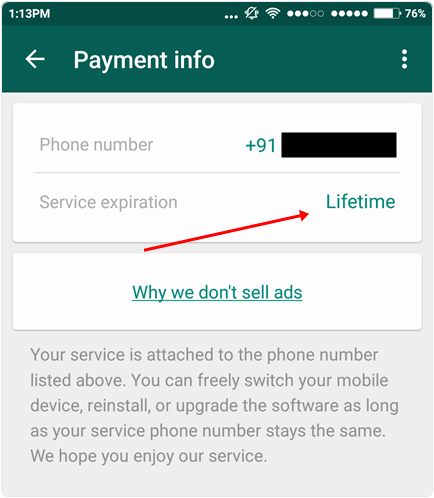 How-To-Make-Whatsapp-Service-Free-For-Lifetime–2016-Check whatsapp service lifetime period