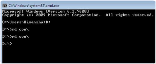 con folder cmd command