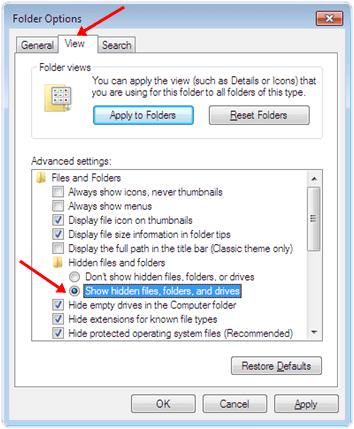 windows Show hidden files, folder and drive option