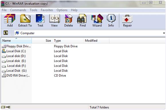 Winrar files compression tool