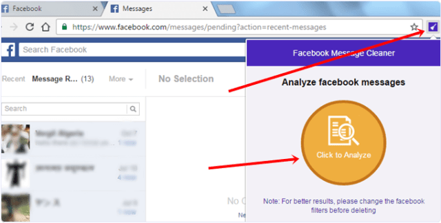 Facebook message cleaner extension
