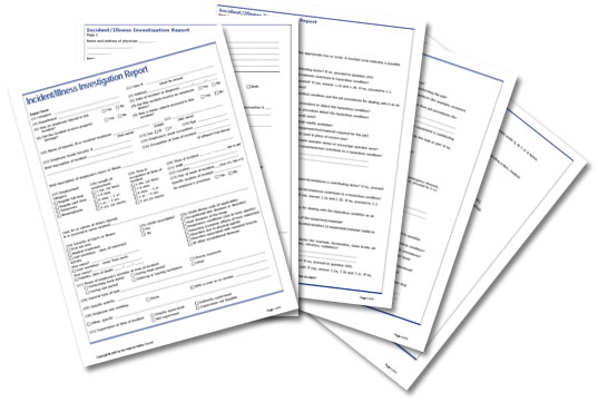 Incident/Illness Investigation Report form