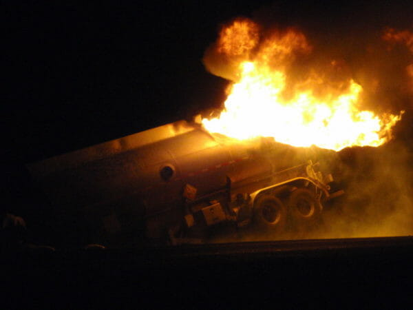 Tanker on fire in Alberta