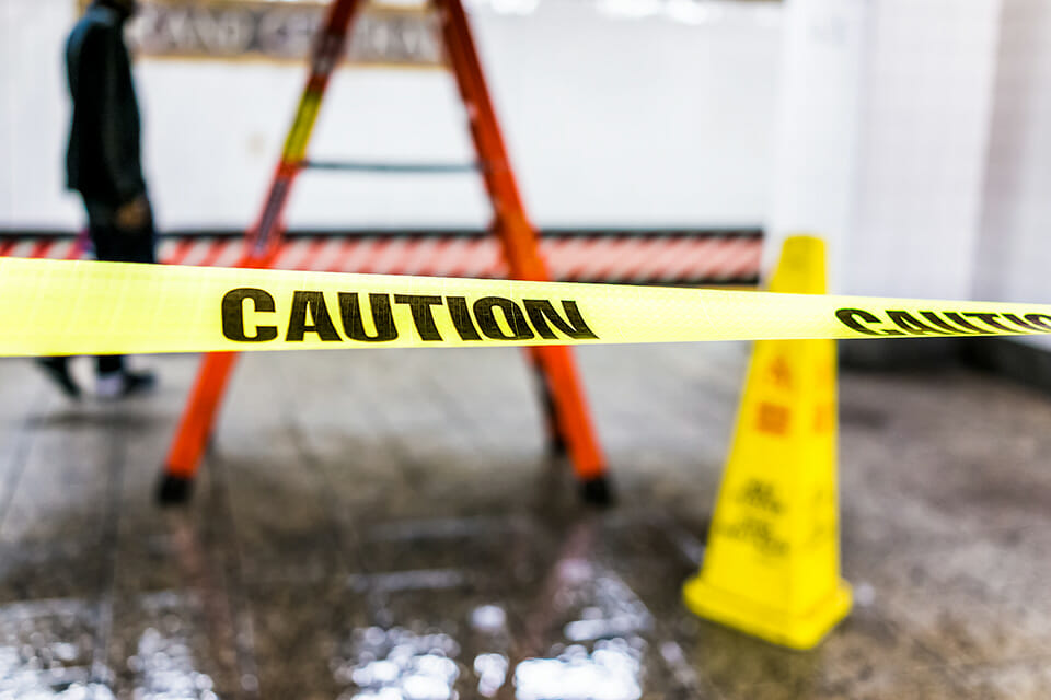 Safety Hazard with Caution Tape