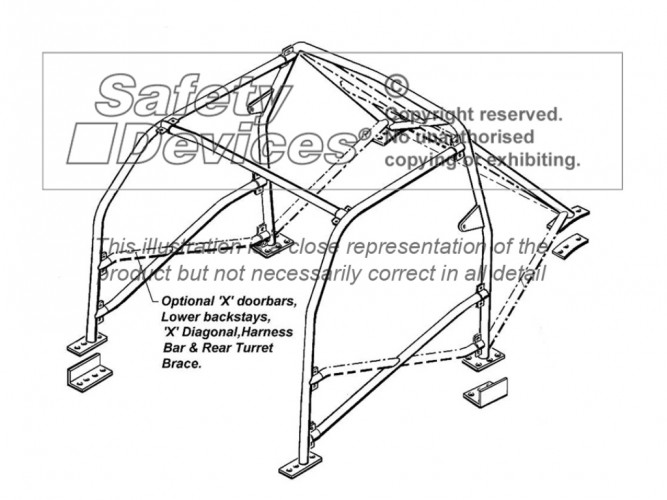 Honda Integra Type-R DC2 Multi Point Bolt-in Roll Cage