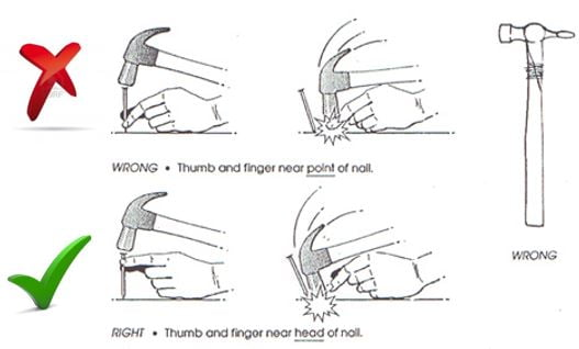 correct use of hammer