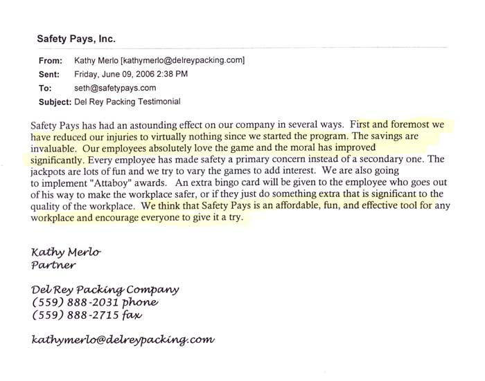 Client Letters & Emails Safety Pays