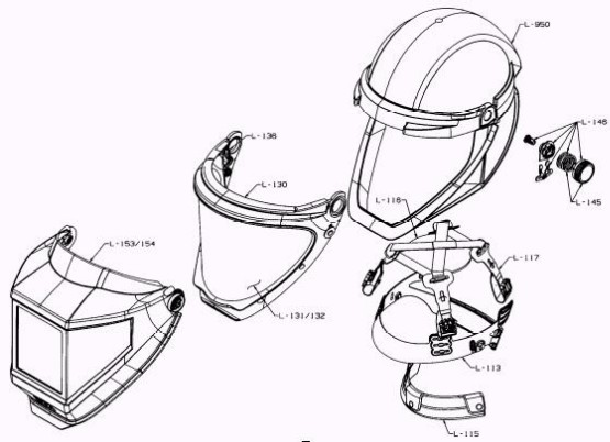 3M™ Helmet L-905, with Welding Shield and Wide-view