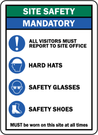 Site Safety Mandatory PPE Sign G2607 - by SafetySign.com