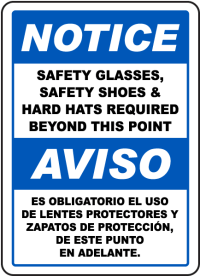 Bilingual Notice PPE Required Beyond This Point Sign I1957BI