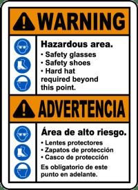 Bilingual Warning Hazardous Area PPE Required Sign I2043BI