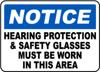 Hearing Protection & Safety Glasses Sign I2358 - by ...