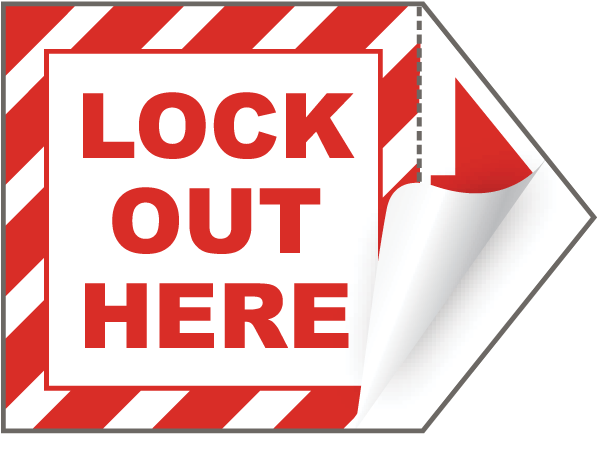 Lock Out Here Arrow Label J5120 - by SafetySign.com