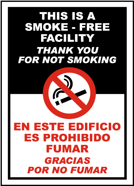 Bilingual SmokeFree Facility Sign  by SafetySigncom