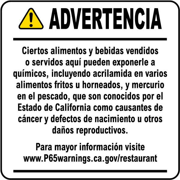 Spanish Food and Non-Alcoholic Beverage Exposure Warning