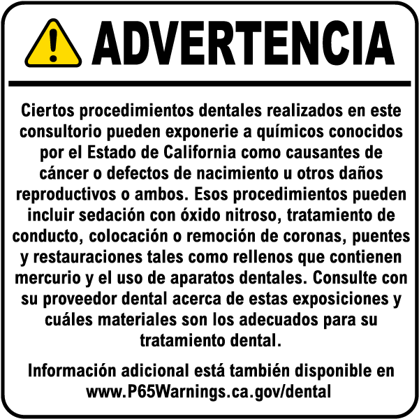Spanish Dental Care Exposure Warning Sign K5824SP