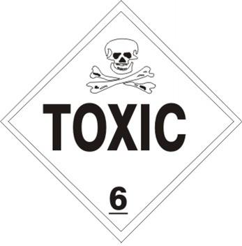 TOXIC, CLASS 6, DOT Placard