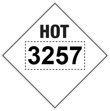 3257 HOT ASPHALT, DOT PLACARD