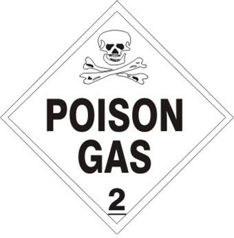 POISON GAS, CLASS 2, DOT Placard
