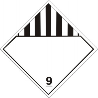 BLANK MISCELLANEOUS DANGEROUS GOODS, CLASS 9, DOT Placard
