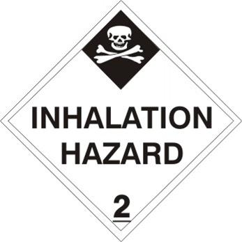 INHALATION HAZARD, CLASS 2, DOT Placard