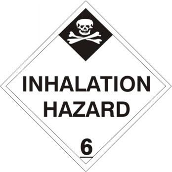 INHALATION HAZARD, CLASS 6, DOT Placard