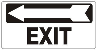 Arrow Left EXIT, Directional Sign