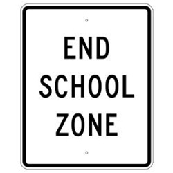 SCHOOL ZONE END (Traffic) Sign
