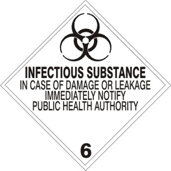 INFECTIOUS SUBSTANCE CLASS 6 Shipping Labels