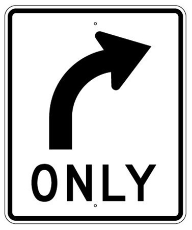 RIGHT TURN ONLY(ARROW) LANE GUIDANCE Sign