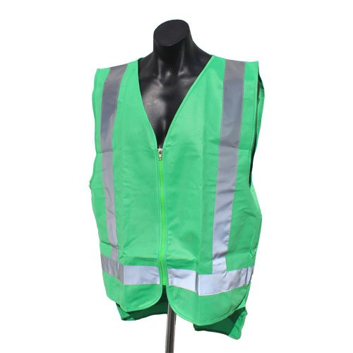 A forest green safety vests with reflective tape