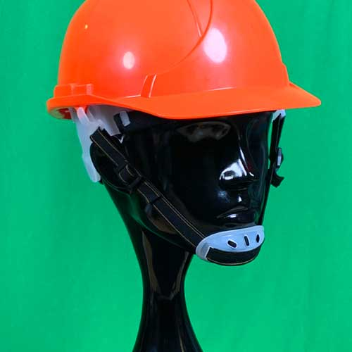 Orange Hard Hat with chin strap