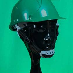 Green Helmet with Chin Strap