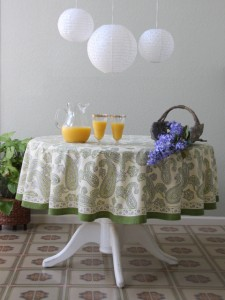 Fresh Feminine Floral Lilac And Lime Table Linens