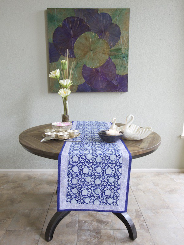 Midnight Lotus: Blue And White Floral Table Runner.  Lotus_asian_blue_runner_round_table. Ml_asian_floral_blue_swatch_vertical