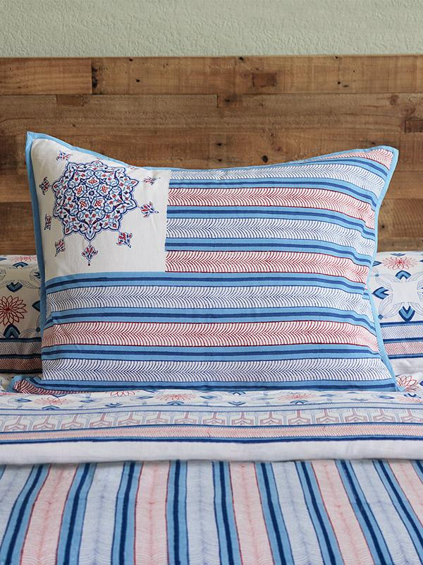 Americana Flag Primitive Patriotic Flag Pillow Sham Saffron Marigold