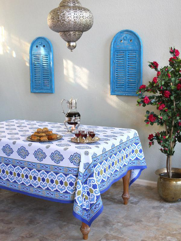 Moroccan Tablecloth Blue and White Tablecloth  Ivory