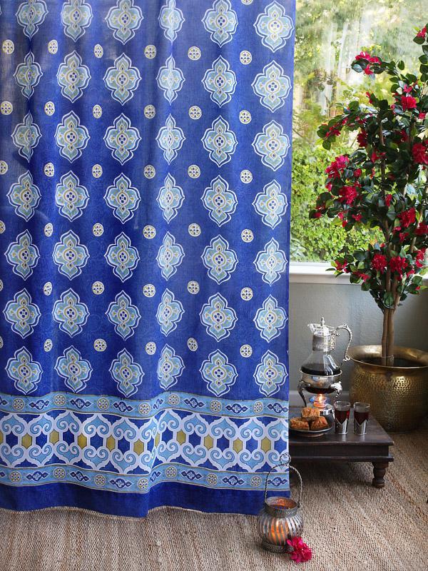 Blue Curtain Moroccan Curtain Vintage Curtain Sheer Cotton Curtain Panel  Saffron Marigold