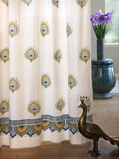 India Curtain Panel Peacock Cream Saffron Marigold