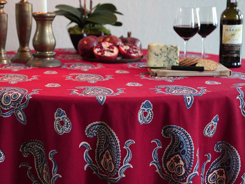 red kitchen valance full 70 90 inch round table cloth, paisley print ...