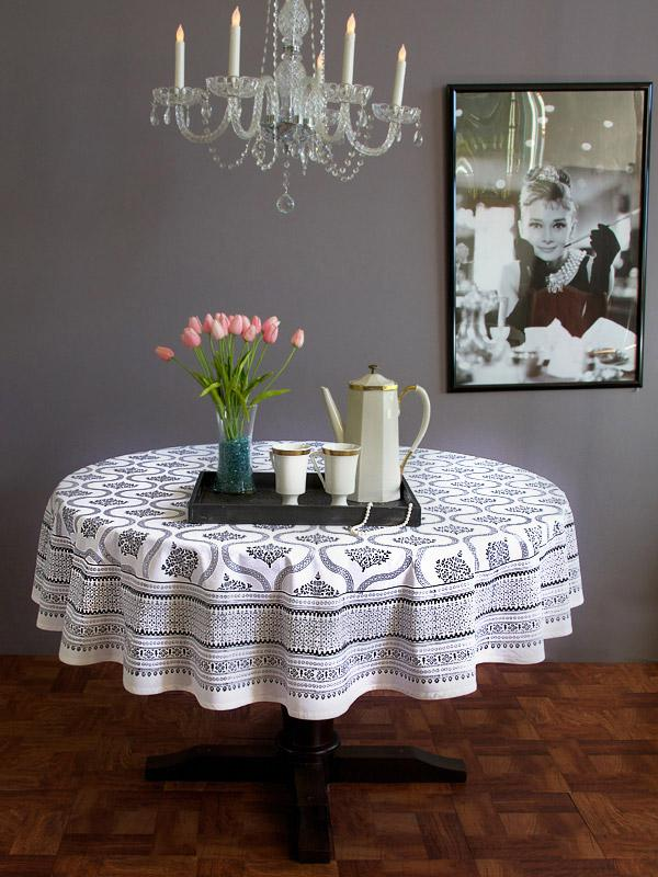 Black and White round table cloth Hollywood Glamour round