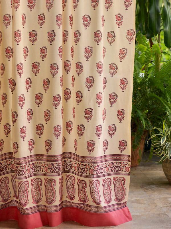 Rose Pink Curtain Floral Curtain Indian Curtain Sari