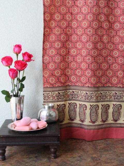 Pink Shower Curtain Floral Rose Indian  Saffron Marigold
