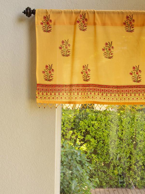 Indian Summer CP  Orange Paisley Beaded Window Valance  Saffron Marigold