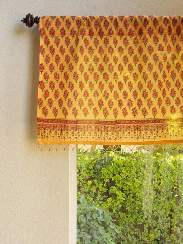Indian Summer  Orange Paisley Beaded Window Valance