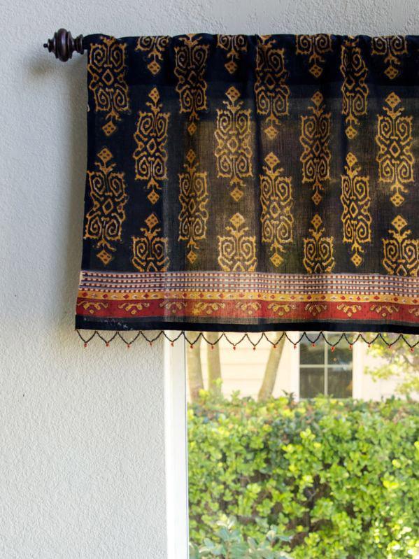 Kilim Noir  Designer Black Gold Beaded Window Valance  Saffron Marigold