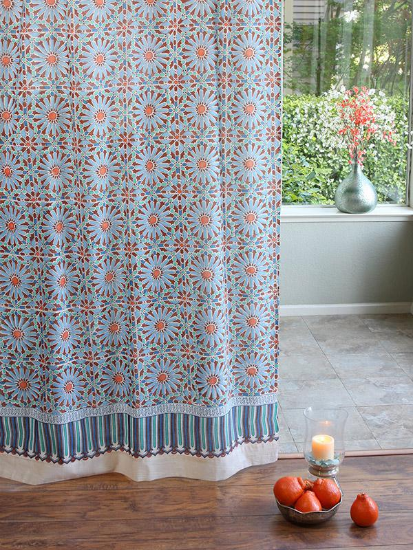kitchen napkins blue countertops moroccan tile print sheer curtain panel, ...