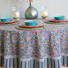 Tile Top Kitchen Table Chandelier Over Island Moroccan Print Blue Round Tablecloth, 70 90 Inch ...