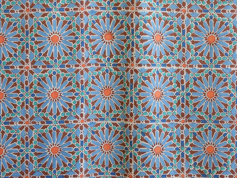 Moroccan bedspread, Tile print, Blue stars